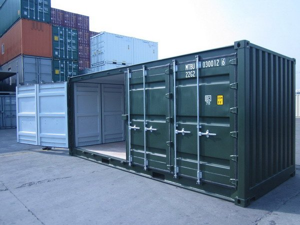20 39 Open Side Green Ral 6007 Shipping Containers